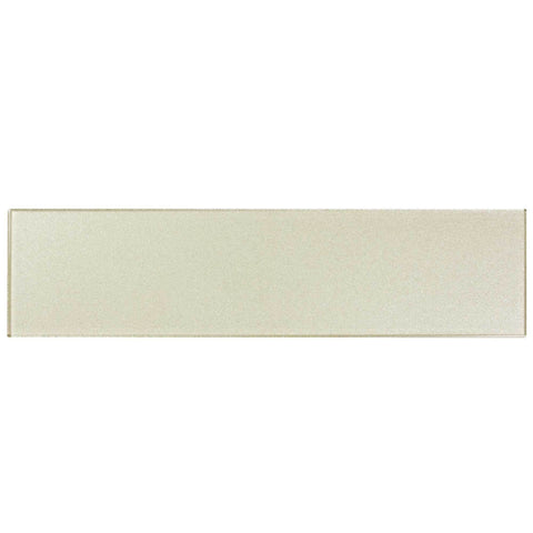 MTO0170 Classic 3X12 Subway White Beige Glossy Metallic Glass Tile - Mosaic Tile Outlet