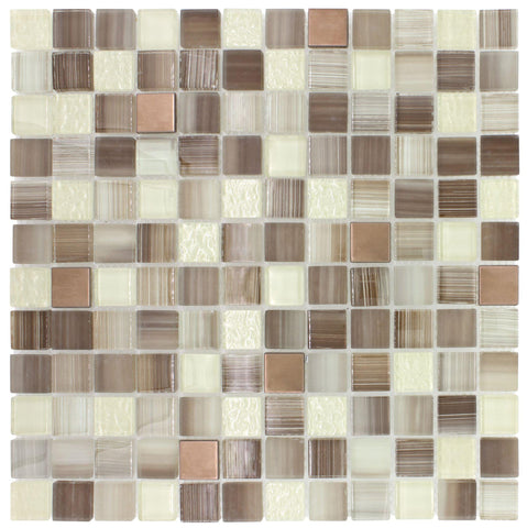 Front Classic Squares Brown Beige Glossy Glass Metal Mosaic Tile