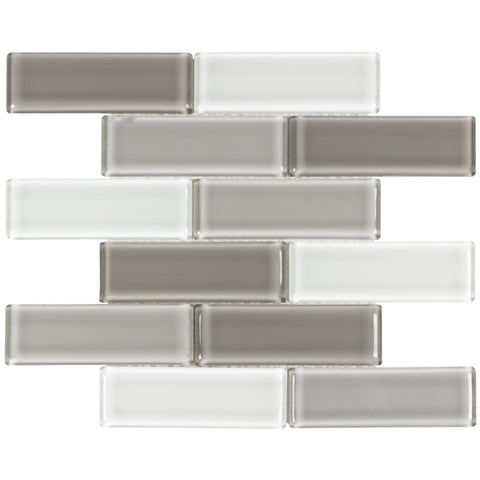 MTO0174 Modern 2X6 Linear Brown Gray White Glossy Molded Glass Mosaic Tile - Mosaic Tile Outlet