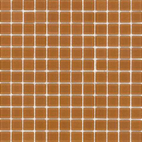 MTO0176 Modern 1X1 Hand Painted Squares Orange Glossy Glass Mosaic Tile - Mosaic Tile Outlet