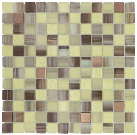 Front Classic Squares Green Brown Glossy Glass Metal Mosaic Tile