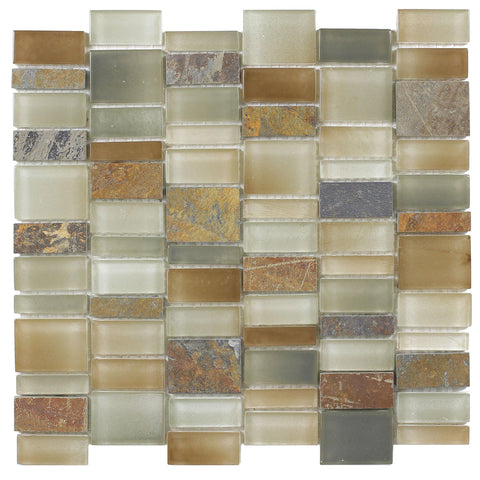 Front Contemporary Brick Gray Orange White Glossy Matte Glass Metal Mosaic Tile