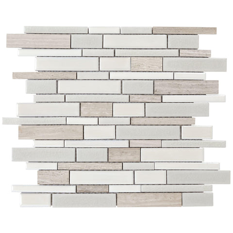 Front Classic Linear Brown Grey White Porcelain Stone Mosaic Tile