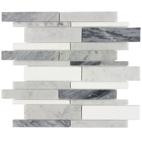 Front Classic Linear Blue Grey White Stone Mosaic Tile