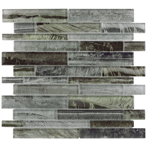 Front Angle MTO0201 Modern Linear Gray Glossy Foil Glass Mosaic Tile