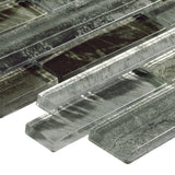 Close Up Side Angle MTO0201 Modern Linear Gray Glossy Foil Glass Mosaic Tile