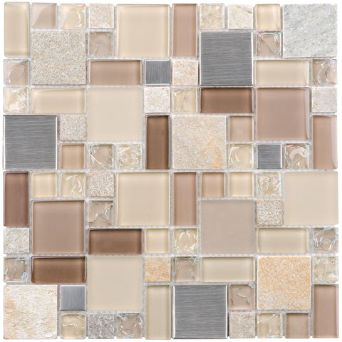 MTO0205 Classic Modular Beige Brown Gray Glossy Stone Glass Mosaic Tile - Mosaic Tile Outlet