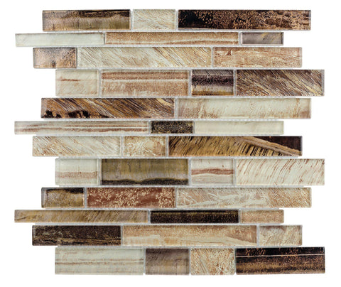 MTO0207 Contemporary Linear Brown Glossy Foil Glass Mosaic Tile - Mosaic Tile Outlet