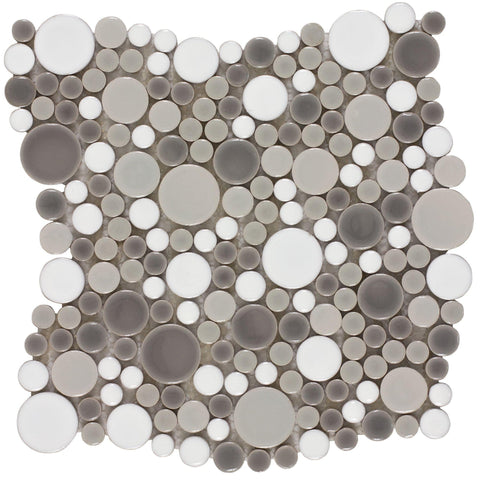 Front Contemporary Circular Grey White Porcelain Mosaic Tile