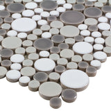 MTO0208 Contemporary Penny Round Bubbles Gray White Glazed Ceramic Mosaic Tile - Mosaic Tile Outlet