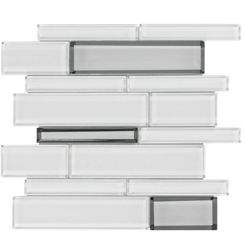 MTO0209 Modern Linear White Gray Glossy Metallic Glass Mosaic Tile - Mosaic Tile Outlet