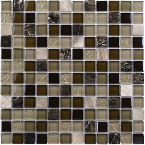 Front Modern Uniform Squares Black Brown Beige Glass Stone Mosaic Tile