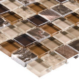 Close Up Modern Uniform Squares Black Brown Beige Glass Stone Mosaic Tile