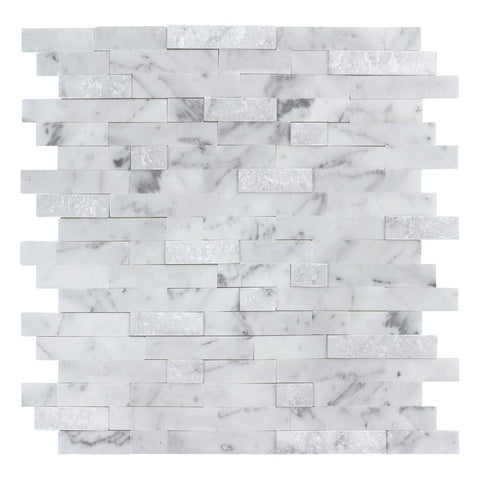 MTO0213 Peel and Stick Classic Linear White Gray Carrara Marble Mosaic Tile - Mosaic Tile Outlet