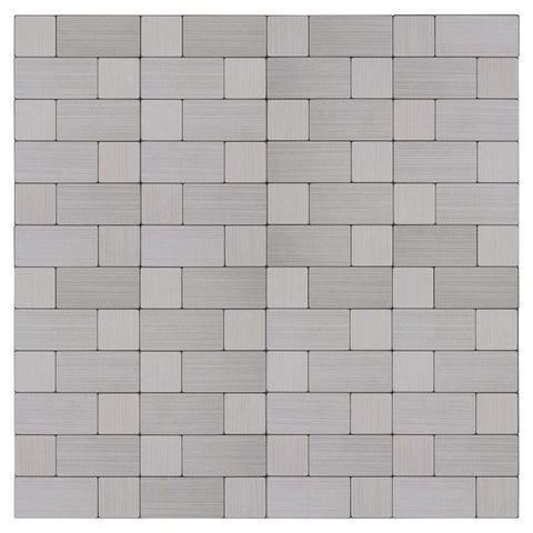 MTO0214 Peel and Stick Modern Linear Silver Metallic Metal Mosaic Tile - Mosaic Tile Outlet