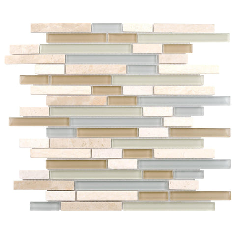 MTO0215 Modern Linear Blue White Yellow Glossy Glass Travertine Mosaic Tile - Mosaic Tile Outlet
