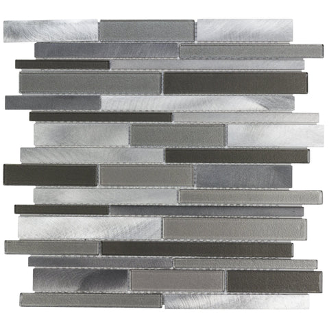 MTO0216 Modern Linear Grey Brown Beige Metallic Glass Metal Mosaic Tile - Mosaic Tile Outlet