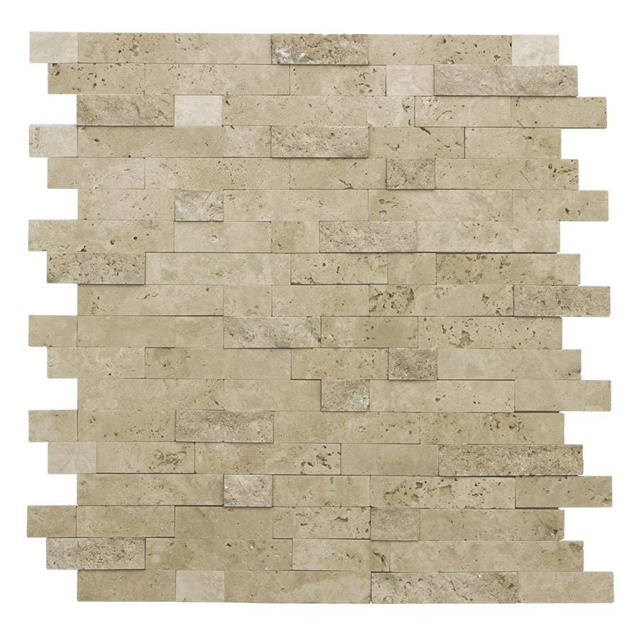 - Linear Beige Travertine Peel And Stick Mosaic Tile MTO0217