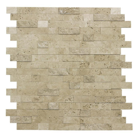 MTO0217 Peel and Stick Linear Beige Glazed Travertine Mosaic Tile - Mosaic Tile Outlet