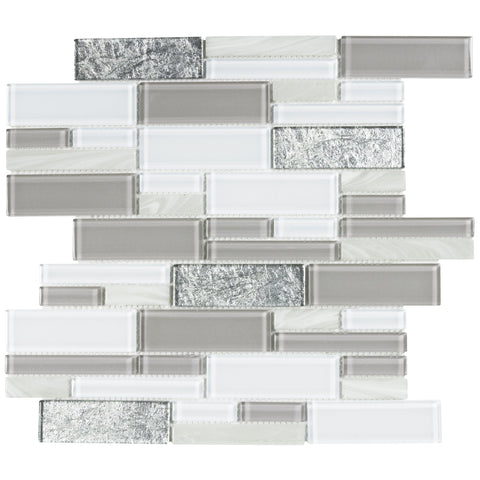 MTO0218 Modern Linear Gray White Glossy Foil Pearlized Glass Mosaic Tile - Mosaic Tile Outlet