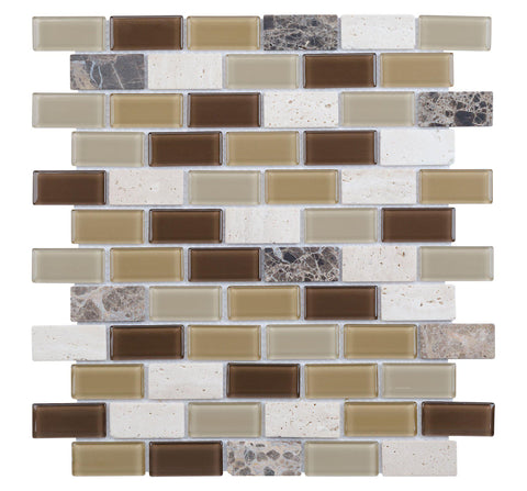 MTO0219 Modern Brick Brown Gray White Glazed Glass Travertine Mosaic Tile - Mosaic Tile Outlet