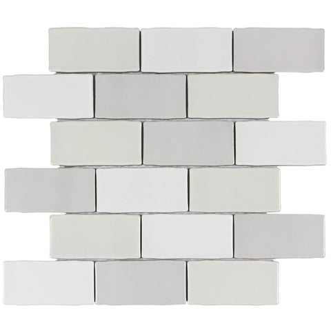 MTO0225 Modern 2X4 Brick White Beige Gray Glossy Ceramic Mosaic Tile - Mosaic Tile Outlet