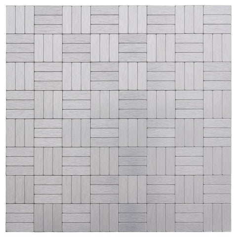 Front Peel and Stick Modern Assorted Rectangles Grey Metal Mosaic Tile