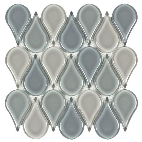MTO0231 Modern Tear Drop Green Gray Blue Glossy Glass Mosaic Tile - Mosaic Tile Outlet