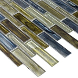 Close Up Modern Linear Blue Green Grey Glass Mosaic Tile