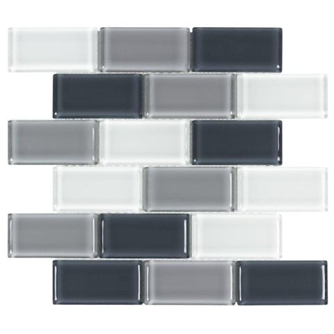 Front Modern Brick Black Grey White Glass Mosaic Tile