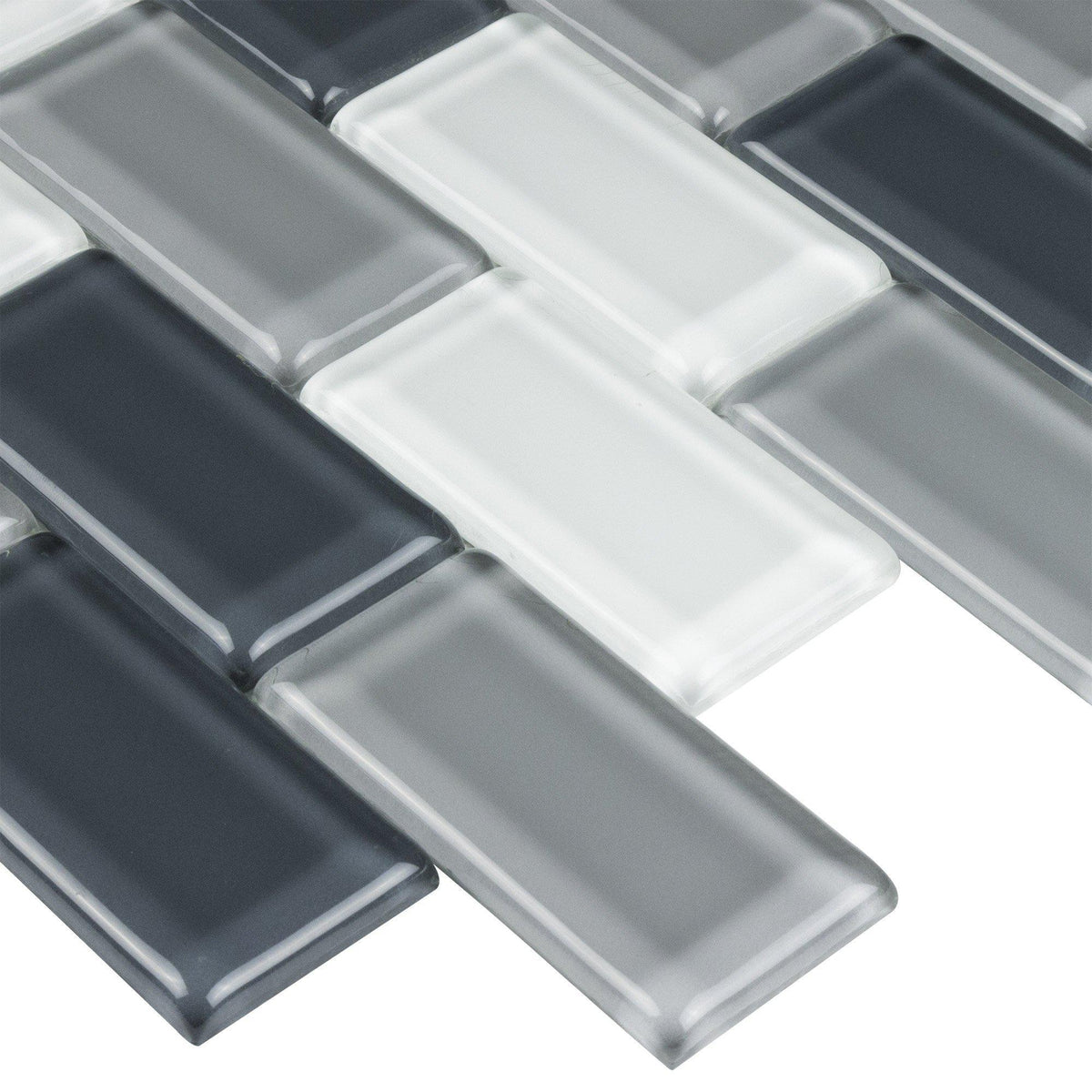 Black Gray White Handcrafted Glass Brick Mosaic Tile Mto0233