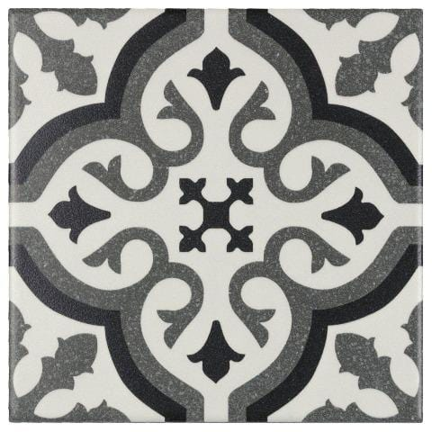 MTO0234 Modern 6X6 Deco Patterned Black Gray Off White Matte Porcelain Tile - Mosaic Tile Outlet