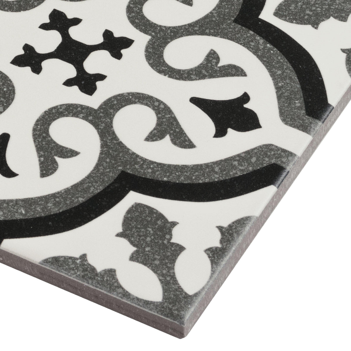 Mto0234 6x6 Deco Patterned Black Gray White Matte