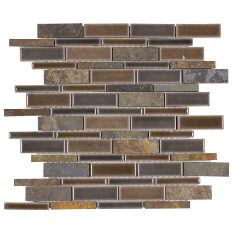 MTO0236 Modern Slate Brown Glazed Ceramic Stone Mosaic Tile - Mosaic Tile Outlet