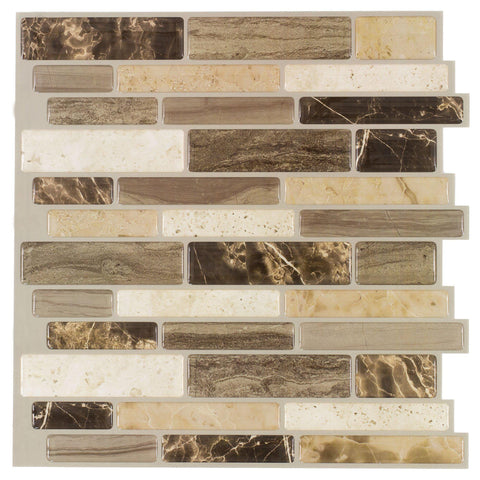 MTO0237 Peel and Stick Modern Linear Brown Khaki Glossy Resin Vinyl Mosaic Tile - Mosaic Tile Outlet