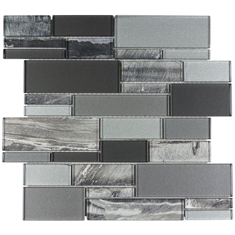 MTO0238 Modern Linear Gray Glossy Foil Glass Mosaic Tile - Mosaic Tile Outlet