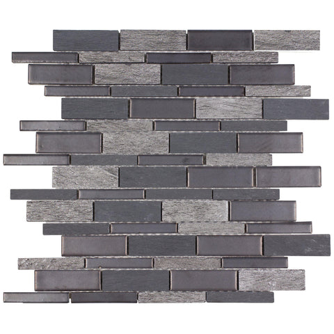 MTO0239 Modern Linear Gray Silver Glazed Porcelain Stone Mosaic Tile - Mosaic Tile Outlet