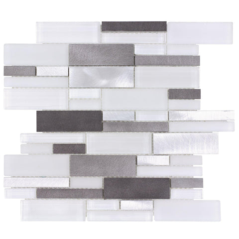 MTO0240 Modern Linear White Silver Multi-finish Glass Foil Metal Mosaic Tile - Mosaic Tile Outlet