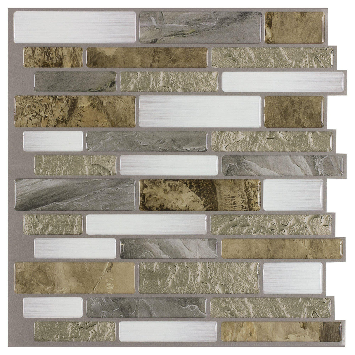 Linear Beige White Gray Peel And Stick Mosaic Tile Mto0241