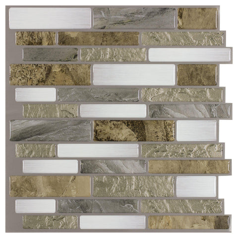 MTO0241 Peel and Stick Linear Beige Gold White Grey Glossy Vinyl Mosaic Tile - Mosaic Tile Outlet