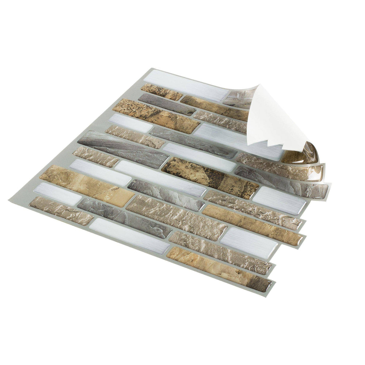Linear Beige White Gray Peel And Stick Mosaic Tile Mto
