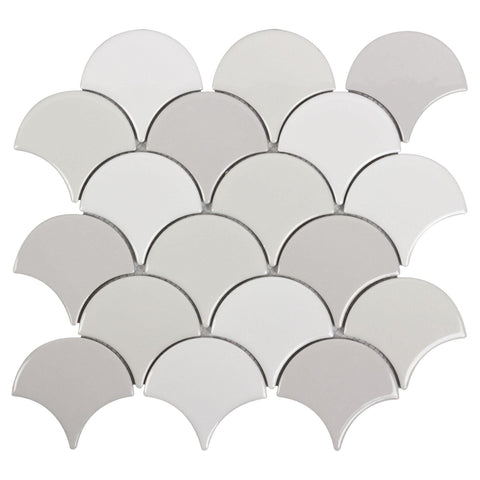 MTO0242 Modern Fan Fish Scale Gray White Glazed Natural Ceramic Multi-Color Mosaic Tile - Mosaic Tile Outlet