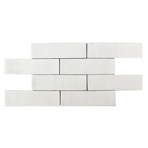 MTO0244 Modern 2X8 Subway Luxury Crackle White Glazed Ceramic Mosaic Tile - Mosaic Tile Outlet