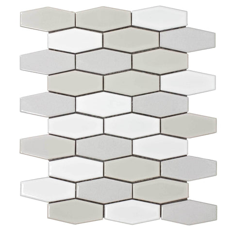 MTO0246 Classic Hexagon White Beige Gray Glossy Ceramic Mosaic Tile - Mosaic Tile Outlet