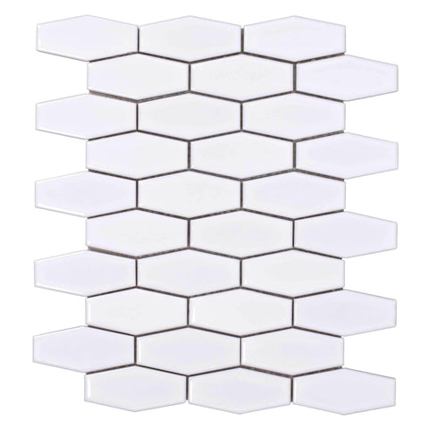 Front Classic Hexagon White Porcelain Mosaic Tile