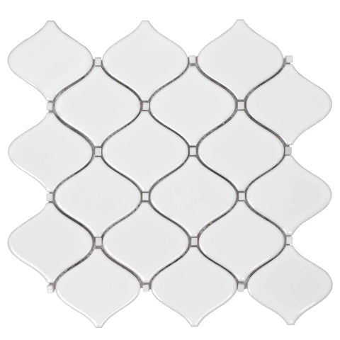 MTO0249 Modern Arabesque White Glazed Ceramic Mosaic Tile - Mosaic Tile Outlet