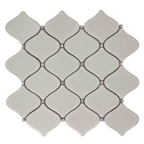 MTO0250 Modern Arabesque Gray Glazed Ceramic Mosaic Tile - Mosaic Tile Outlet