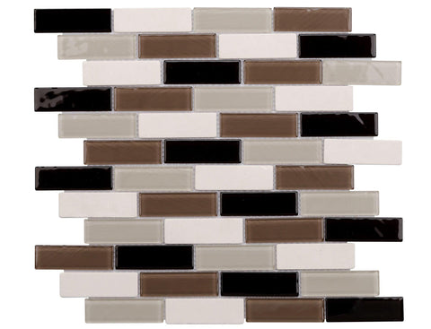MTO0251 Classic Linear Black Brown White Beige Glossy Glass Stone Mosaic Tile - Mosaic Tile Outlet