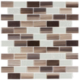 MTO0253 Classic Brick Brown Light Green Beige Glossy Glass Metal Mosaic Tile - Mosaic Tile Outlet