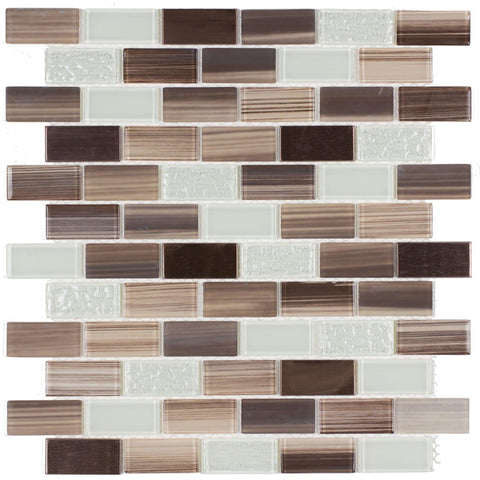 Front Classic Brick Brown Light Green Glass Metal Mosaic Tile